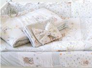 MamaKiddies Sofie Dreams 4 részes ágynemű 180°-os rácsvédővel baglyos mintával fehér színben