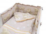MamaKiddies Sofie Dreams 5 részes ágynemű 360°-os rácsvédővel világosbarna színben
