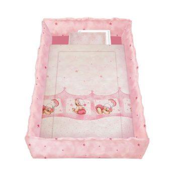 Lorelli 5 részes mintás ágyneműgarnitúra 360 fokos rácsvédővel - Álmos mackók pink