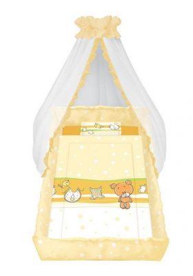 Lorelli 6 részes ágyneműgarnitúra anyag baldachinnal, rácsvédővel Teddy maci narancs
