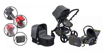 MamaKiddies Prémium Baby Silver Sport Black Edition Kiegészítőkkel + Ajándék