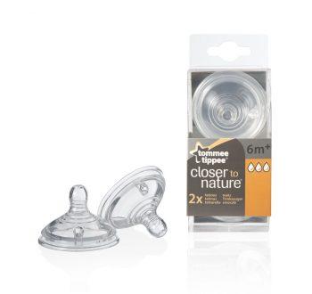 2 db Gyors folyású BPA-mentes Tommee Tippee cumisüveg cumi