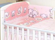 MamaKiddies Baby Bear 5 részes ágynemű 180°-os rácsvédővel rózsaszín macis mintával