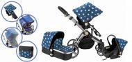MamaKiddies Prémium BabyBee (Australian Edition) 3 az 1-ben babakocsi kiegészítőkkel kék-fekete-fehér színben + Ajándék