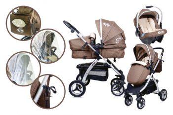 MamaKiddies BabyBird Lift 3az1-ben babakocsi kiegészítőkkel barna színben + Ajándék