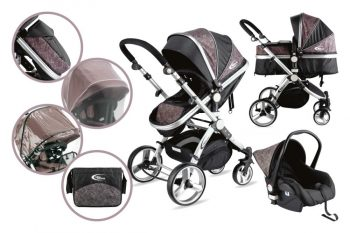 MamaKiddies Prémium Plus Baby 3 az 1-ben babakocsi kiegészítőkkel fekete-zebra színben + Ajándék