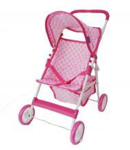Fehér rózsaszín mintás négykerekű baba babakocsi