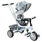 Baby Mix Odyssey zebra mintás tricikli kupolával (360°-ban forgatható ülés)