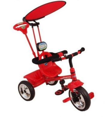 Baby Mix Trike prémium tricikli tolókarral és lábtartóval piros színben