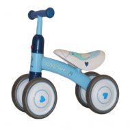 Lábbal hajtható kék négykerekű bicikli