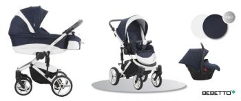 Bebetto Murano 3in1 Full Extra bőrrel kék-fehér színben + Kiegészítők + Ajándék