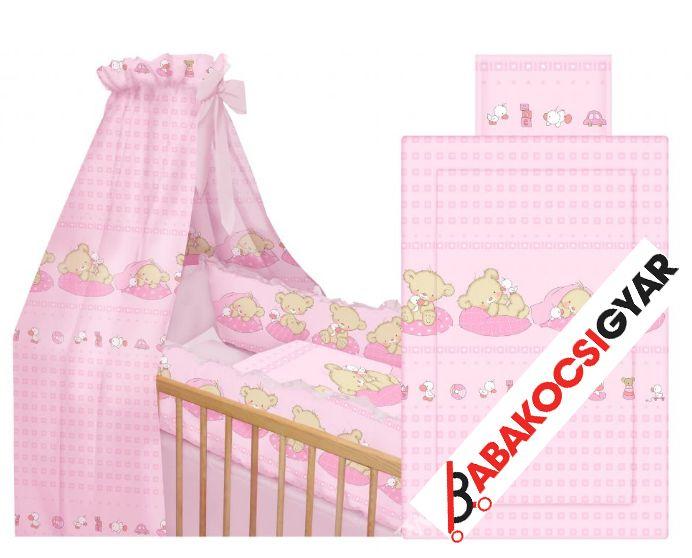 Bertoni 6 részes mintás ágyneműgarnitúra 360 fokos rácsvédővel Macis pink
