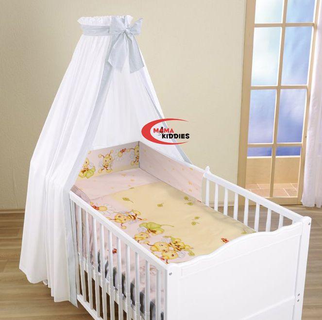 MamaKiddies FULL EXTRA NAGY 100% pamut ágynemű rácsvédővel, gumis lepedővel és baldachinnal - méhecskés sárga-rózsaszín