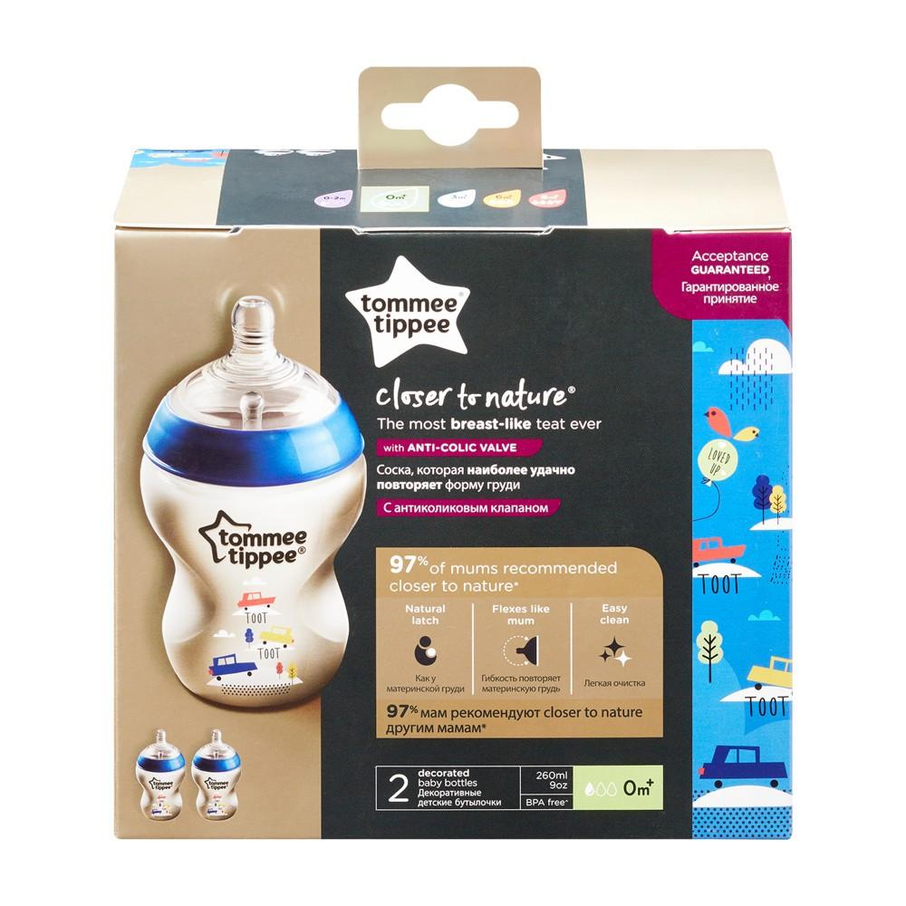 2 db 260 ml-es BPA-mentes Tommee Tippee Cumisüveg color duo pack + Ajándék