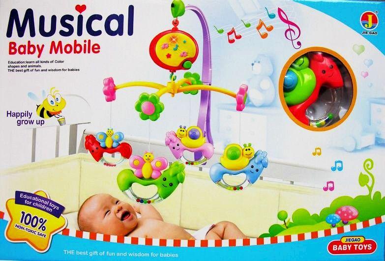 Forgó zenélő világító állatos játék kiságyra - nagy méretű díszdobozos csomagolásban