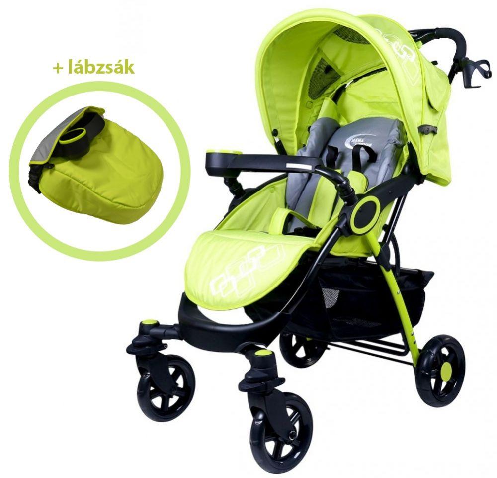 MamaKiddies Light4 Go Sport babakocsi lime-fekete színben+ Lábzsák + Ajándék