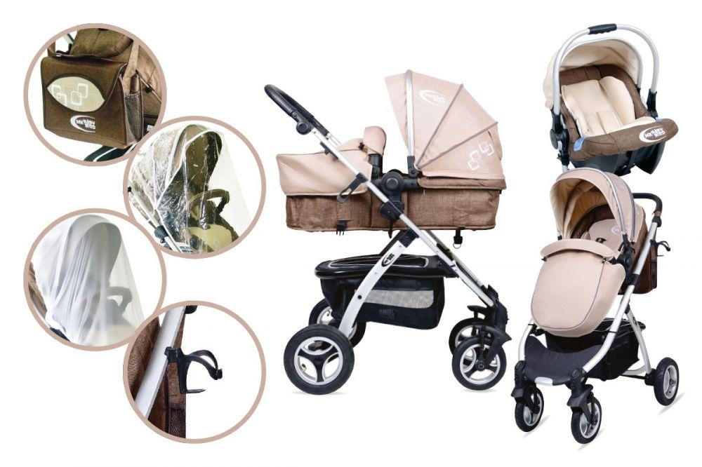 MamaKiddies BabyBird Lift 3az1-ben babakocsi kiegészítőkkel bézs-barna színben + Ajándék