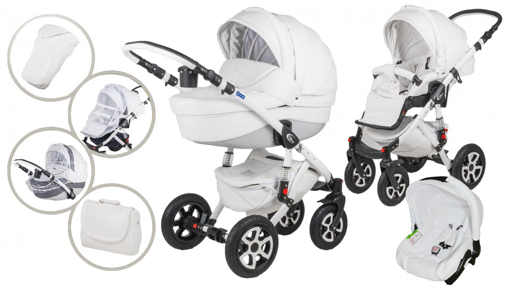 MamaKiddies Carbon Exclusive White 3az1-ben multifunkciós Eco Leather babakocsi kiegészítőkkel + Ajándék