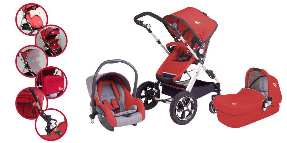Mama Kiddies I Bill. 3az1-ben babakocsi piros színben