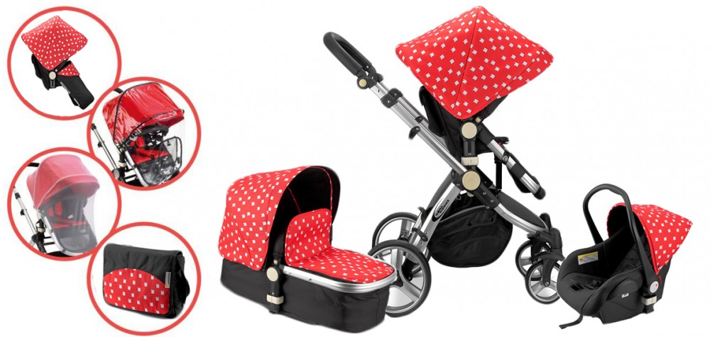 MamaKiddies Prémium BabyBee (Australian Edition) 3 az 1-ben babakocsi kiegészítőkkel piros-fekete-fehér színben + Ajándék