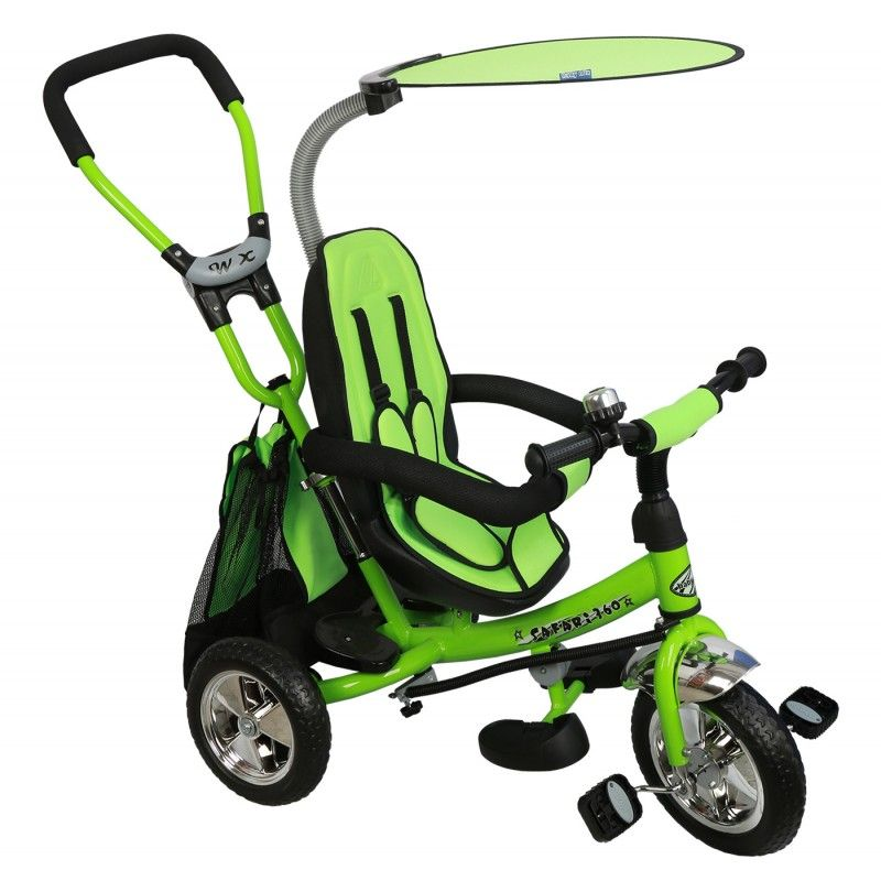 Baby Mix Trike 360 Green prémium tricikli tolókarral és lábtartóval