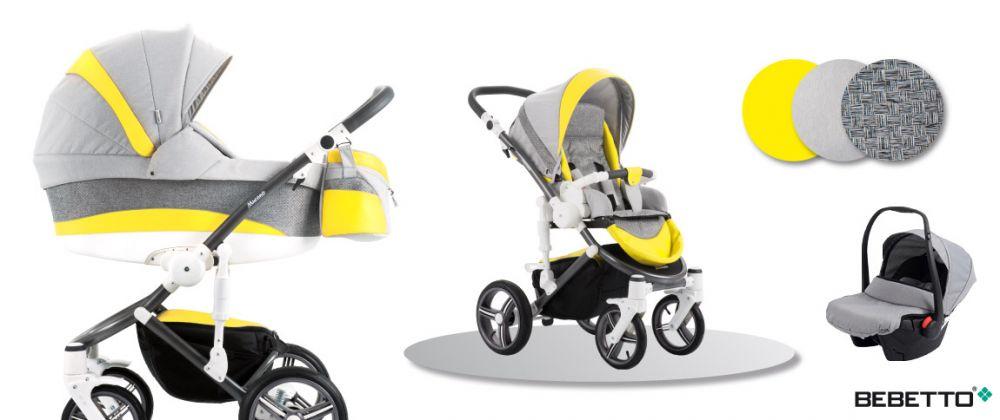 Bebetto Murano 3in1 Full Extra bőrrel szürke-sárga színben + Kiegészítők + Ajándék