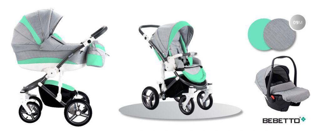 Bebetto Murano 3in1 Full Extra bőrrel szürke-zöld színben + Kiegészítők + Ajándék