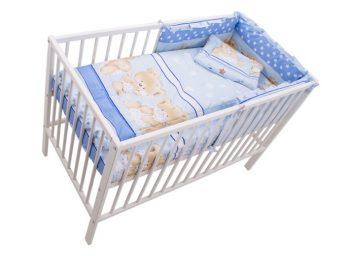 Mama Kiddies Sofie Dreams 4 részes babaágynemű 180°-os rácsvédővel kék színben