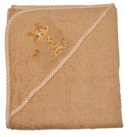 Zsiráfos hímzett babakifogó 80×80 cm barna
