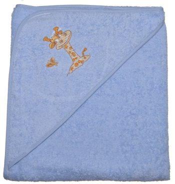 Zsiráfos hímzett babakifogó 80×80 cm kék