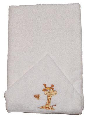Zsiráfos hímzett babakifogó 75×120 cm fehér