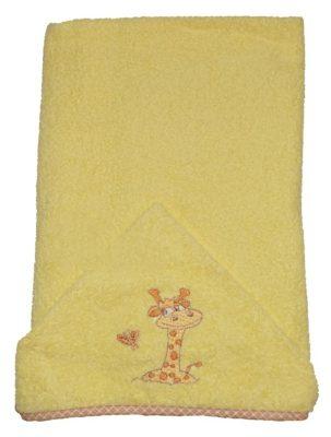 Zsiráfos hímzett babakifogó 75×120 cm sárga