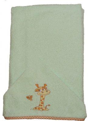 Zsiráfos hímzett babakifogó 75×120 cm zöld