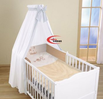 Mama Kiddies Hímzett FULL EXTRA 100% pamut ágynemű rácsvédővel, gumis lepedővel  és baldachinnal - fehér-caffee