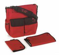 Jané pelenkázó táska kiegészítőkkel - piros színben