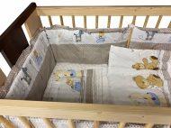MamaKiddies Sofie Dreams 5 részes ágynemű 360°-os rácsvédővel macis mintával bézs színben
