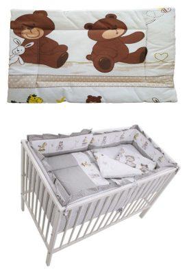 Mama Kiddies Sofie Dreams 5 részes babaágynemű 360°-os rácsvédővel macis mintával bézs színben - new edition