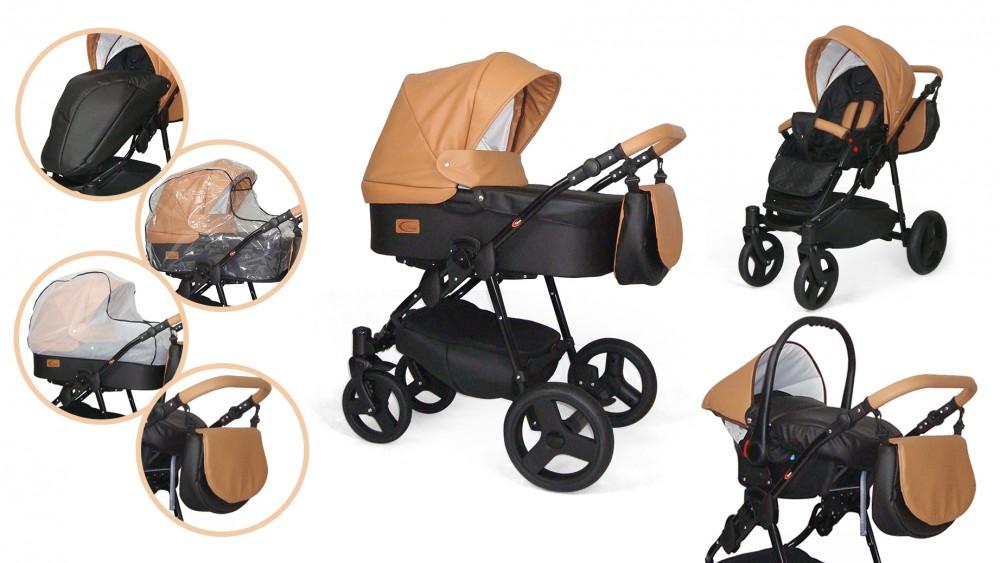 MamaKiddies Turismo 3az1-ben multifunkciós full textilbőr babakocsi szett  kiegészítőkkel camel színben 6554015594