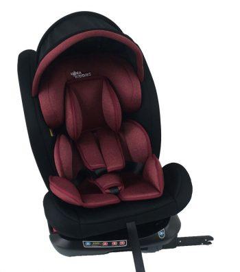 ISOFIX-es 360°-ban forgatható MamaKiddies Rotary Protect GT biztonsági autósülés (0-36 kg) piros színben ajándék napvédővel