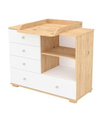 Pelenkázó szekrény 4 fiókkal és polccal mandula-fehér színben