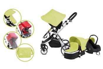 MamaKiddies Prémium Baby 3 az 1-ben babakocsi kiegészítőkkel lime színben + Ajándék