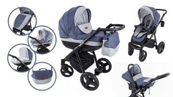 Mama Kiddies Passion Collection 3az1-ben multifunkciós babakocsi kék színben + ajándék