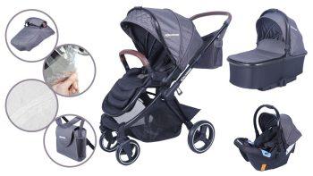 Mama Kiddies Luxury 3az1-ben multifunkciós babakocsi szürke színben + ajándék lábzsák