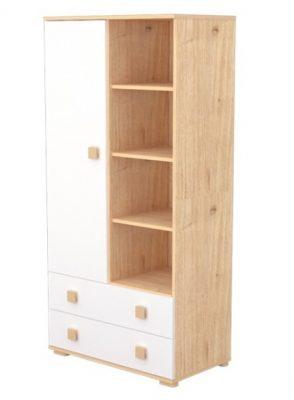 Álló szekrény 1 ajtóval és 2 fiókkal mandula-fehér színben