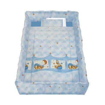Lorelli 5 részes mintás ágyneműgarnitúra 360 fokos rácsvédővel - Álmos mackók blue