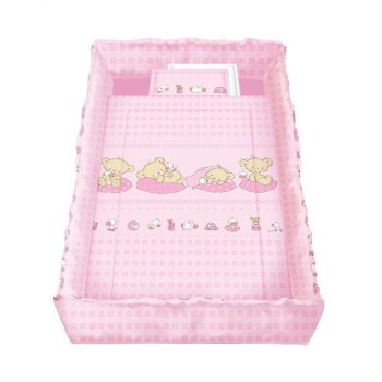 Lorelli 5 részes mintás ágyneműgarnitúra 360 fokos rácsvédővel - Szupersztár mackók pink