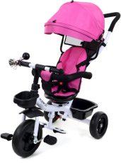 FunFit Kids Twist tricikli tolókarral és lábtartóval pink színben (360°-ban forgatható ülés)