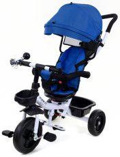 FunFit Kids Twist tricikli tolókarral és lábtartóval kék színben (360°-ban forgatható ülés)