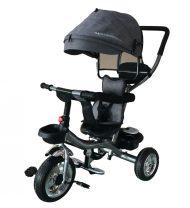 Mama Kiddies Major Trike tricikli szülőkormánnyal és lábtartóval szürke színben (360°-ban forgatható ülés)