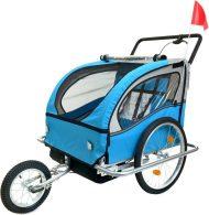 2 üléses kék kerékpár utánfutó kék-fekete színben